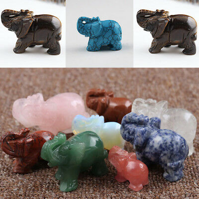 Natural Crystal Stone Carving Elephant Statue Engraving Animal Figurine 1.5 inch