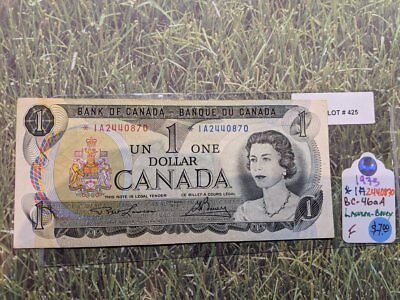 1973 Bank of Canada 1 Dollar Replacement Note Serial: *IA2440870 Lot: 425