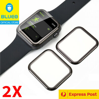2x Genuine BLUEO® 3D Curved Tempered Glass Screen Protector Apple Watch 1 2 3 4