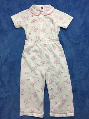 Vintage Carters Pajama Sleepwear Set Girls Size 3T Pink White Snap Two Piece