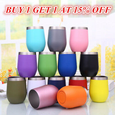 10oz Metal Stainless Steel Wine Glass Tumbler Double Wall Insulated Rambler Cup