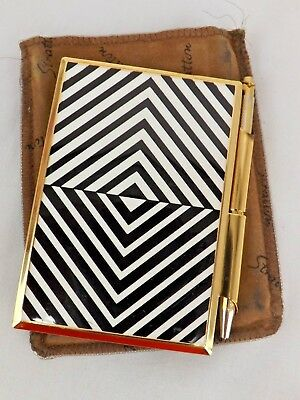 Vintage Stratton England Compact Pen & Notepad in Case Black White Gold