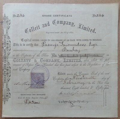 India 1886 Collett & Co share certificate
