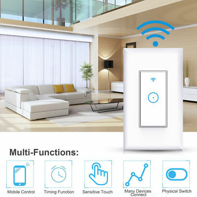 US Smart LED Light Dimmer WiFi Wall Touch Switch For Alexa Google Home App Timer