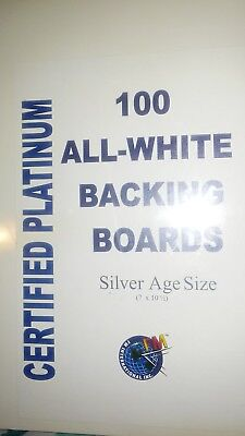 Pack 100 FM Silver Age /Era Comic Book Acid Free Backing Boards white backers