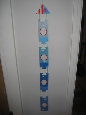 Children's Wooden Blue Height Chart with Seasise Design - New