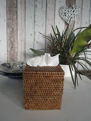 Woven Rich Brown Rattan Cane Tissue Box Cover Holder Square Bath Living