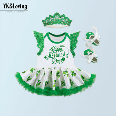 Baby Girl First 1st Saint Patrick's Sleeveless Wings Dress Skirt Headband 3PCS