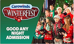 1 Cedar Fair Carowinds WinterFest 1-Day Park Admission Ticket, Charlotte, NC