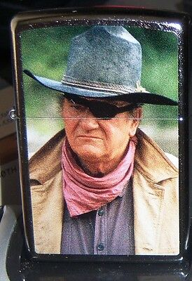"Zippo ""john Wayne As Rooster Cogburn Chrome And""mint In Box"