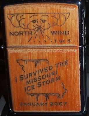 "Zippo ""i Survived The Missouri Ice Storm"" Jan 2007 Chrome Lighter 1 Of 5 Made"