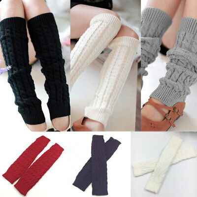 Women Warm Thicken Leg Warmers Knee High Winter Knit Crochet Legging Boot Socks