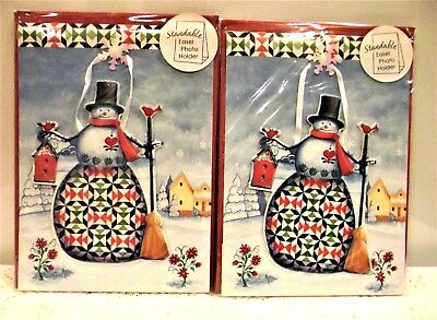 2 Country Christmas Quilt Snowman Photo Ornament Greeting Cards * 3D Easel