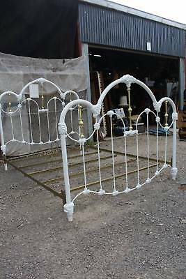 A Cast Iron & Brass Queen Size Bed with Iron Base