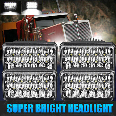 4X DOT 4X6 LED Headlight For Kenworth T400 T600 T800 W900B W900L Classic 120/132
