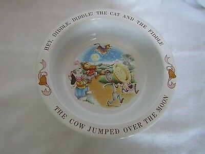 """Vintage 1984 Avon Child's """"Hey Diddle Diddle"""" Nursery Rhyme Pottery Bowl"""
