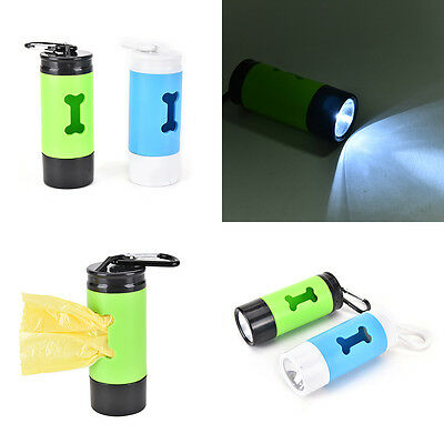 Pet Waste Bag Holder with LED light for Lead Walking Carrying LS