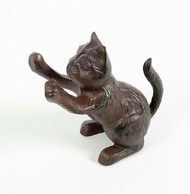 Cast Iron Cat Figurine Bookend Antique Rust Statue Ornament Kitten Paperweight