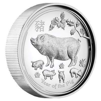 2019 $1 Year of the Pig 1oz Silver Proof High Relief Coin - Australian Lunar