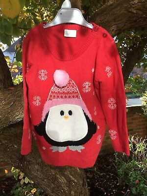 New Baby Girls Christmas/Xmas Penguin Jumper- Red/dark Pink -Up To 3 Months