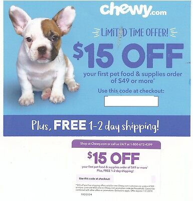Chewy.com $15 of $49 Coupon Discount Code - Expires 1/31/2019
