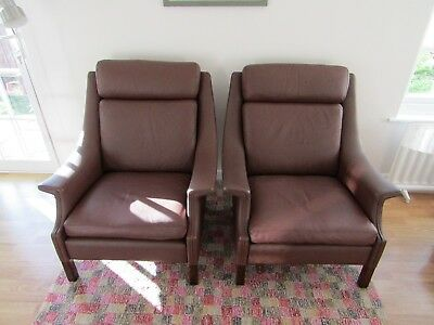 Two Mid Century Vintage Danish Leather Armchairs