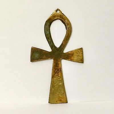 Ankh Brass Pendant Wall Art Egyptian Hieroglyph Key Cross of Life Crux Ansata