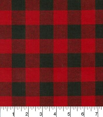 Cotton Snuggle Flannel Fabric BTHY, 1/2YD- Red And Black Buffalo Check, Woodland