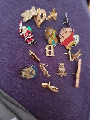 Vintage Retro Mixed Joblot Bundle Collection Of Pin Badges No Backs 15 in total.