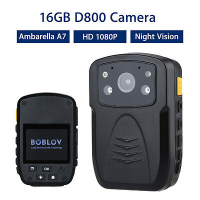 """D800 Police Body Camera 16GB DVR HD 1080P 2.0""""LCD Night Vision Motion Detection"""