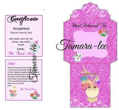 Girls Set letter and certificate with envelope for coins from the Tooth Fairy