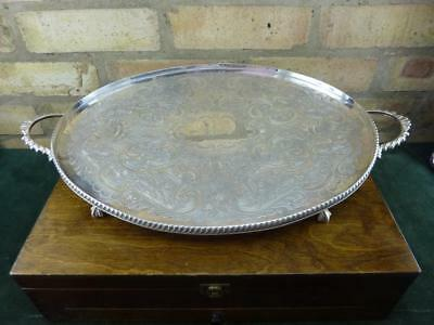 """A Lovely Vintage  two handled large 20"""" serving tray silver plated"""