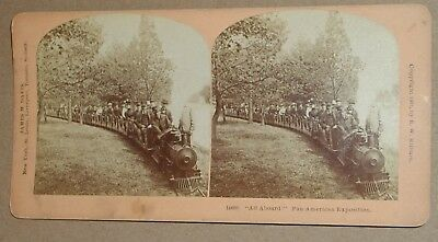 """***vintage 1901 Pan American Exposition """"all Aboard!"""" Train Ride Stereoview**"""