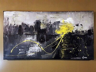 Abstract art landscape painting Textured painting Modern art Yellow SOLD!!