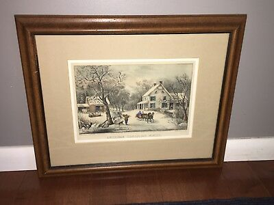 Original Currier & Ives Print American Homestead Winter Great Color  New/Old 50