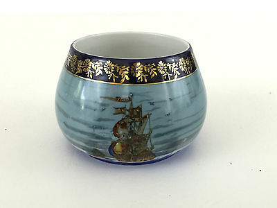 small blue hand painted porcelain bowl of a ship