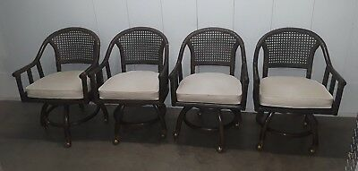 Set 4 Vintage Rattan Bamboo Dining Dinette Chairs Mid Century Modern Caned