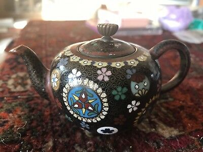 Antique Miniature Japanese Meiji Period Cloisonne Teapot