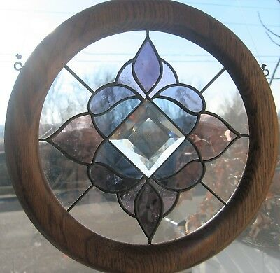 Stained Glass Window Hanging w Wood Frame Blue, Purple, Pink, Clear. USED NICE.