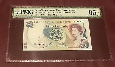 Isle Of Man 5 Pounds 2015 Pmg 65 Gem Unc Pick 48 Sign M. Couch
