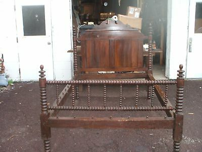 Bed Jenny Lind Rope Spool Walnut 3-4 Size Vintage Antique Conversion Full