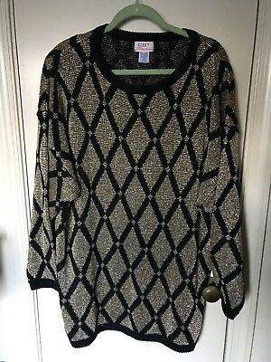 Vintage 80 s black and gold tunic sweater Plus 26 28 4X Ugly Holiday Dolman 0ee7a8af8