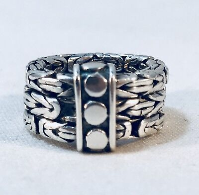 Sterling Silver Signed BA Byzantine Style Wide Band Ring Sz 6.25