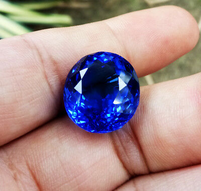 Pricious! 13.20ct.17x14 EXCELLENT NEON BLUE TANZANITE OVAL TOP CREATED GEMs AAA+