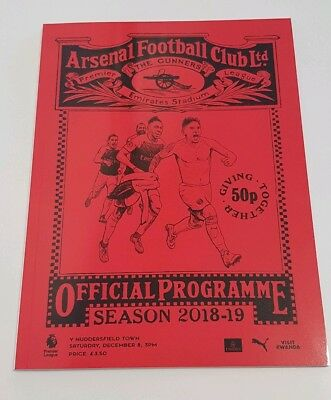 Arsenal v Huddersfield Twn. Premier League Official Matchday Programme 2018/2019