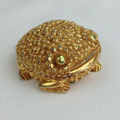 Vintage Revlon Moon Drops Solid Perfume Compact Gold Tone Frog Green Eyes EMPTY