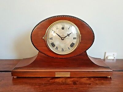 Antique 1920's WML Gilbert Mahogany and Brass Mantle Clock (Oval Barley Twist)