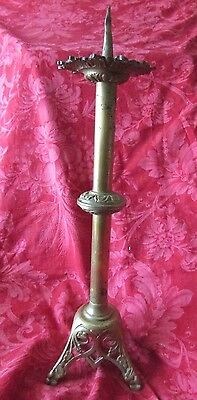 Antique French large beautiful ornate solid brass church altar Candlestick c1910