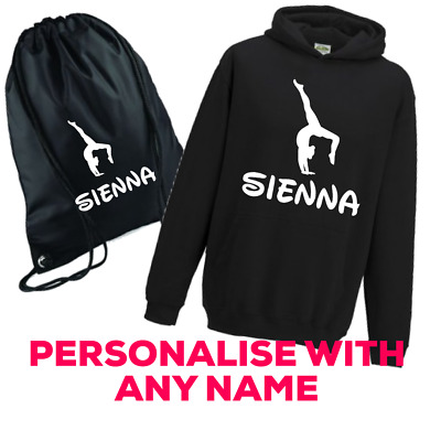 Personalised Gymnast Dancers Girls Bag And Hoodie Any Name Great Present