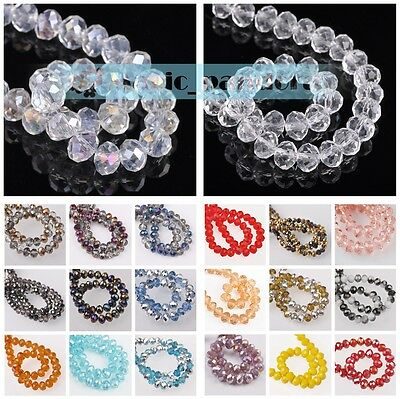 Wholesale 200pcs 6x4mm Rondelle Faceted Crystal Glass Charms Loose Spacer Beads